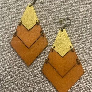 Gold and orange wood earrings